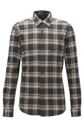 Camicia regular fit in flanella di cotone a quadri, A disegni