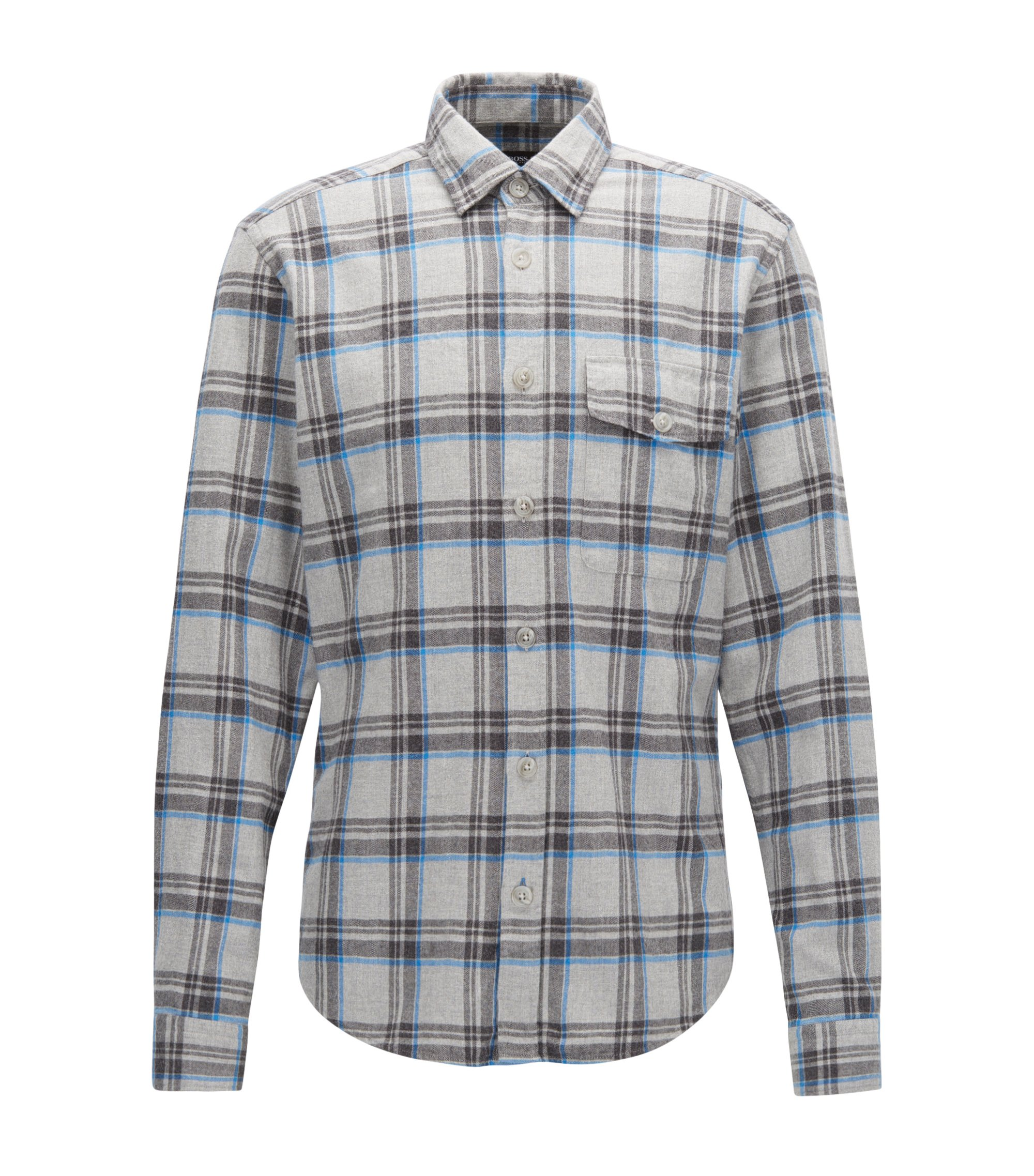 Regular-fit checked cotton flannel shirt, Patterned