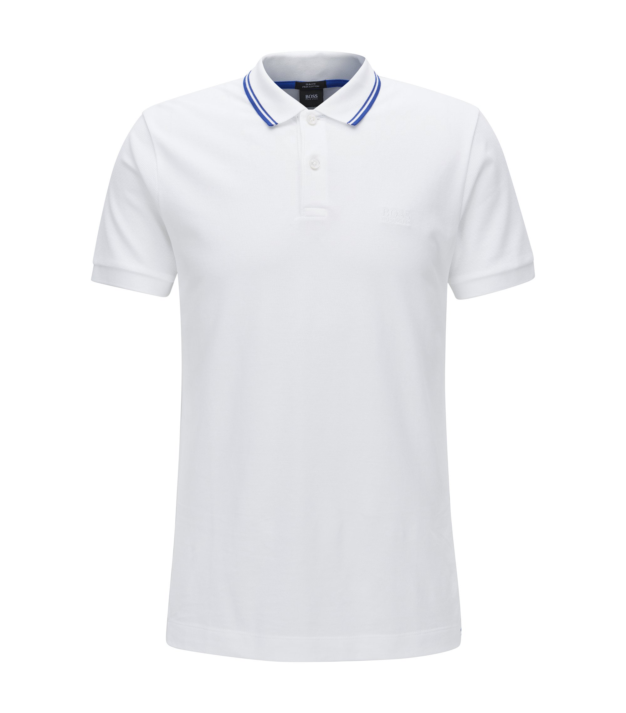 Slim-fit cotton polo shirt in a knitted mix, White