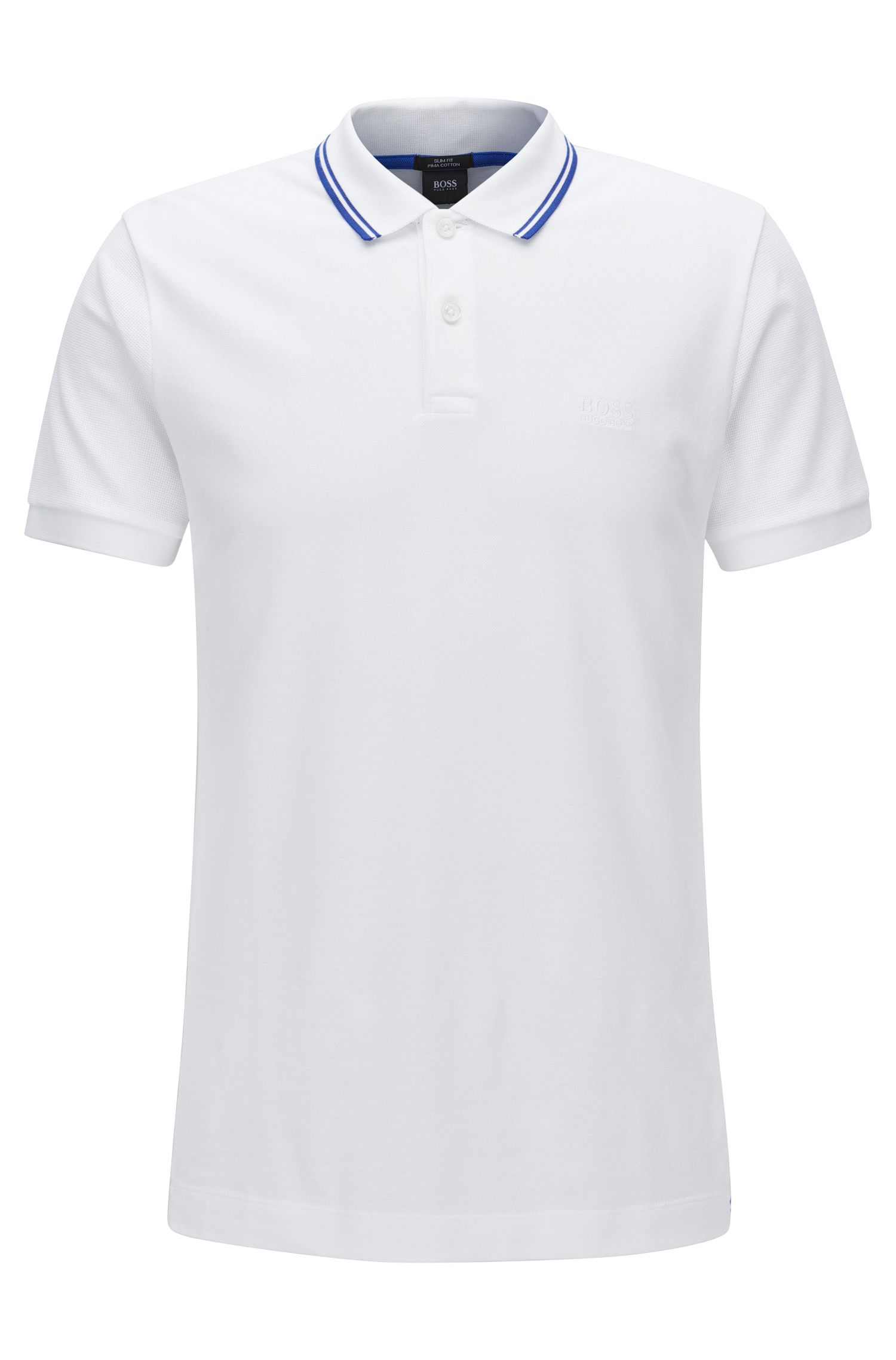 Slim-fit cotton polo shirt in a knitted mix