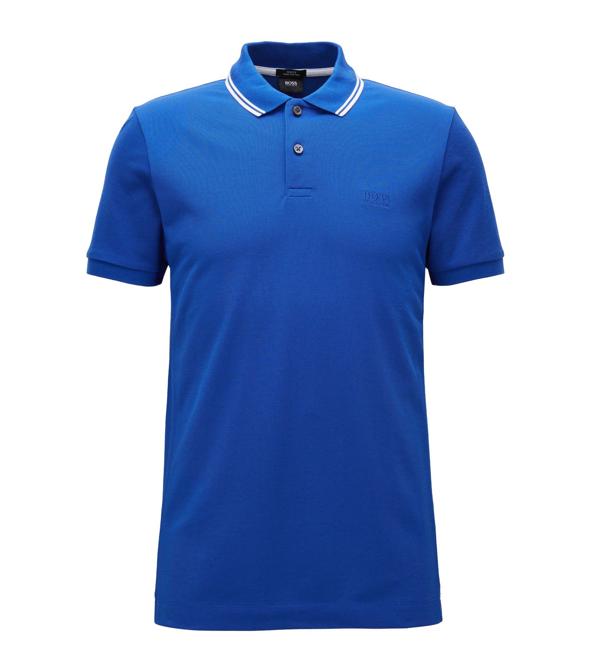 Polo Slim Fit en coton, rehaussé de détails en maille, Bleu