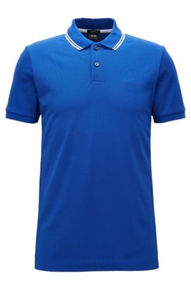 Slim-fit cotton polo shirt in a knitted mix, Blue
