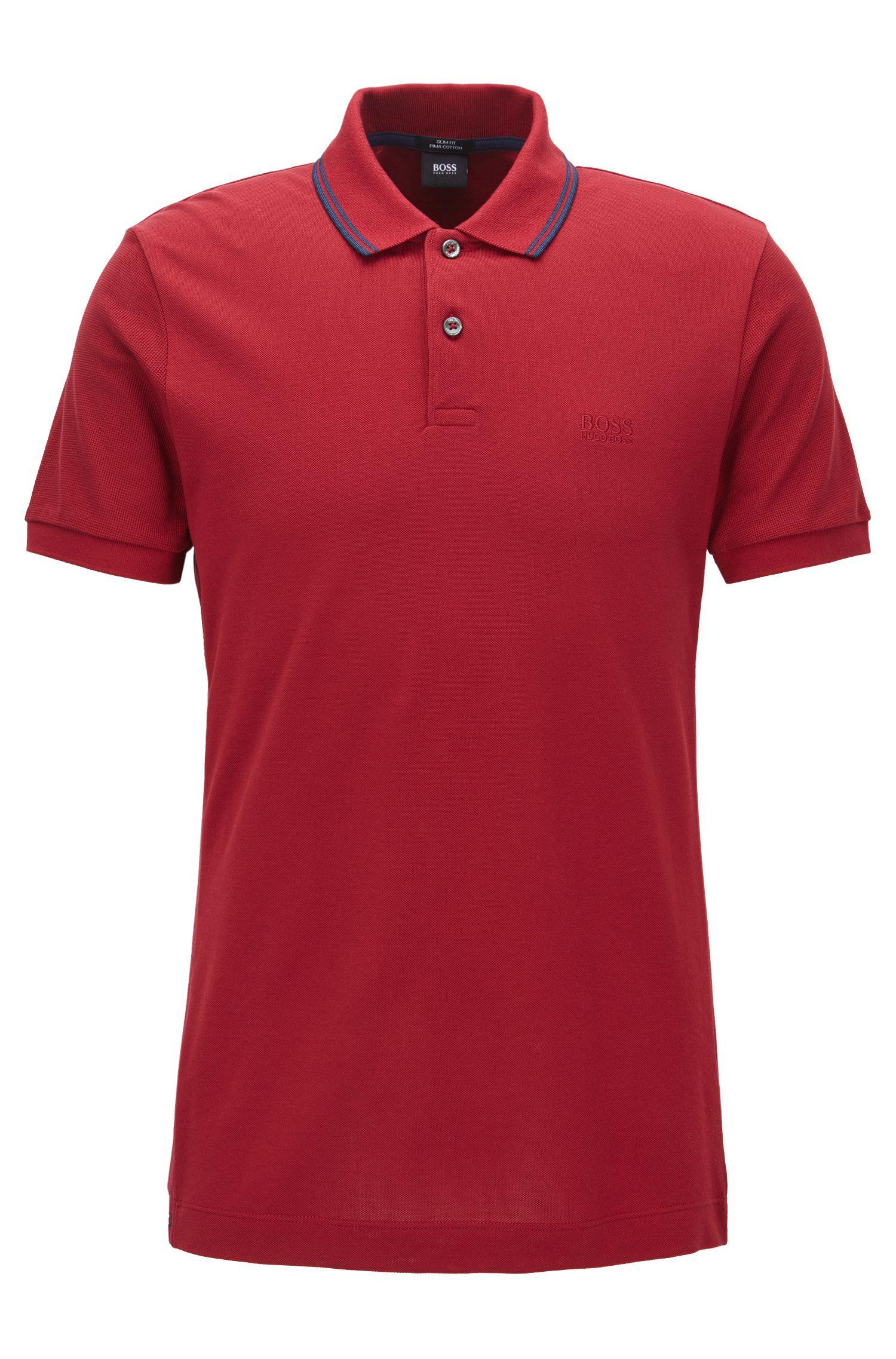 Polo Slim Fit en coton, rehaussé de détails en maille