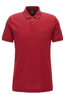 Slim-fit cotton polo shirt in a knitted mix, Red