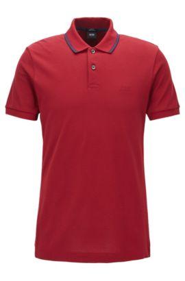 Polo Slim Fit en coton, rehaussé de détails en maille, Rouge
