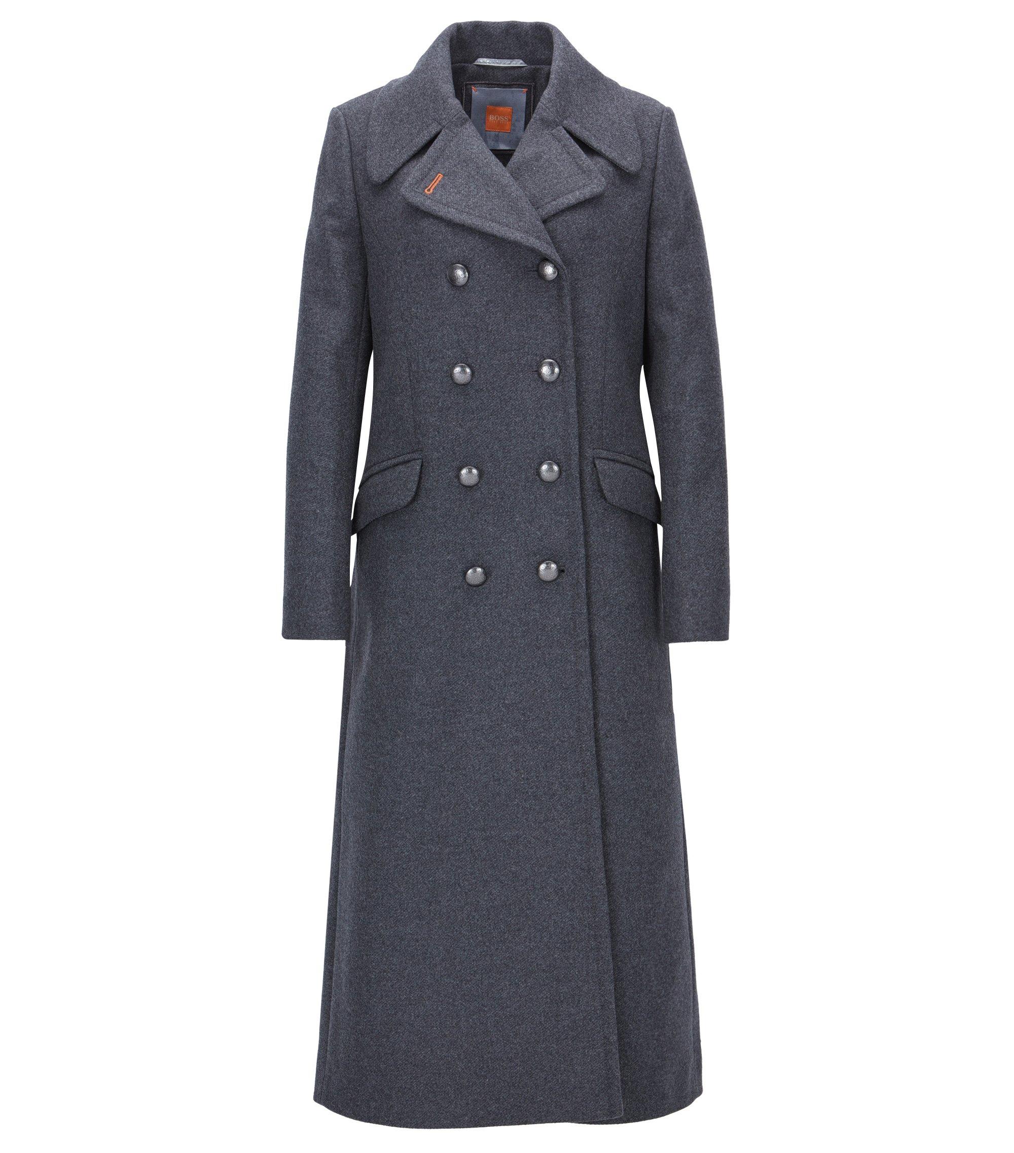Lange, regular-fit mantel met twee rijen knopen van een wolmix, Antraciet