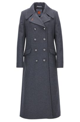 Manteau long croisé Regular Fit en laine mélangée, Anthracite