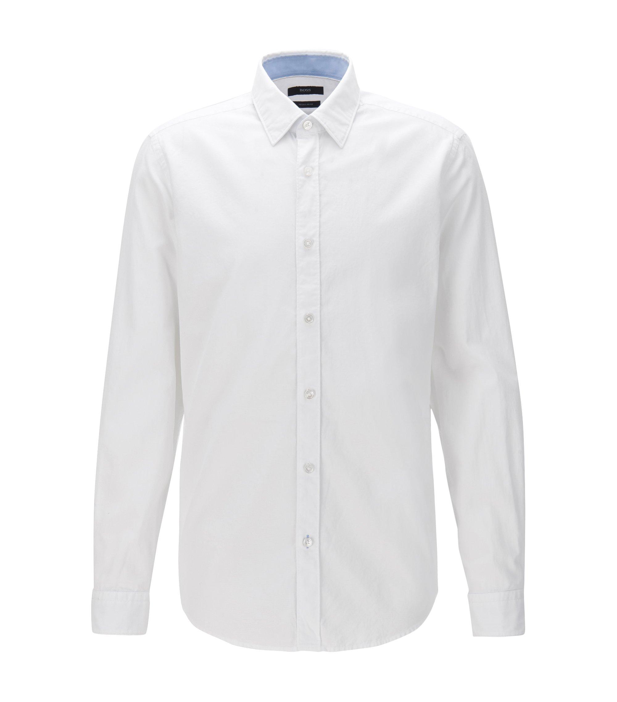 Regular-fit Oxfordoverhemd van gewassen katoen, Wit