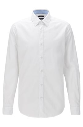 Regular-fit washed cotton Oxford shirt, White