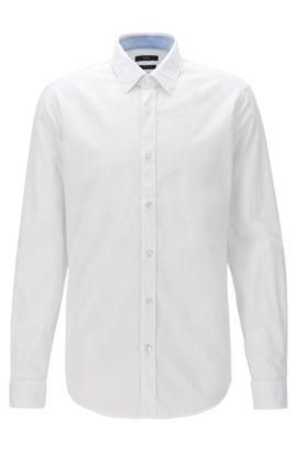 Chemise Oxford Regular Fit en coton lavé, Blanc