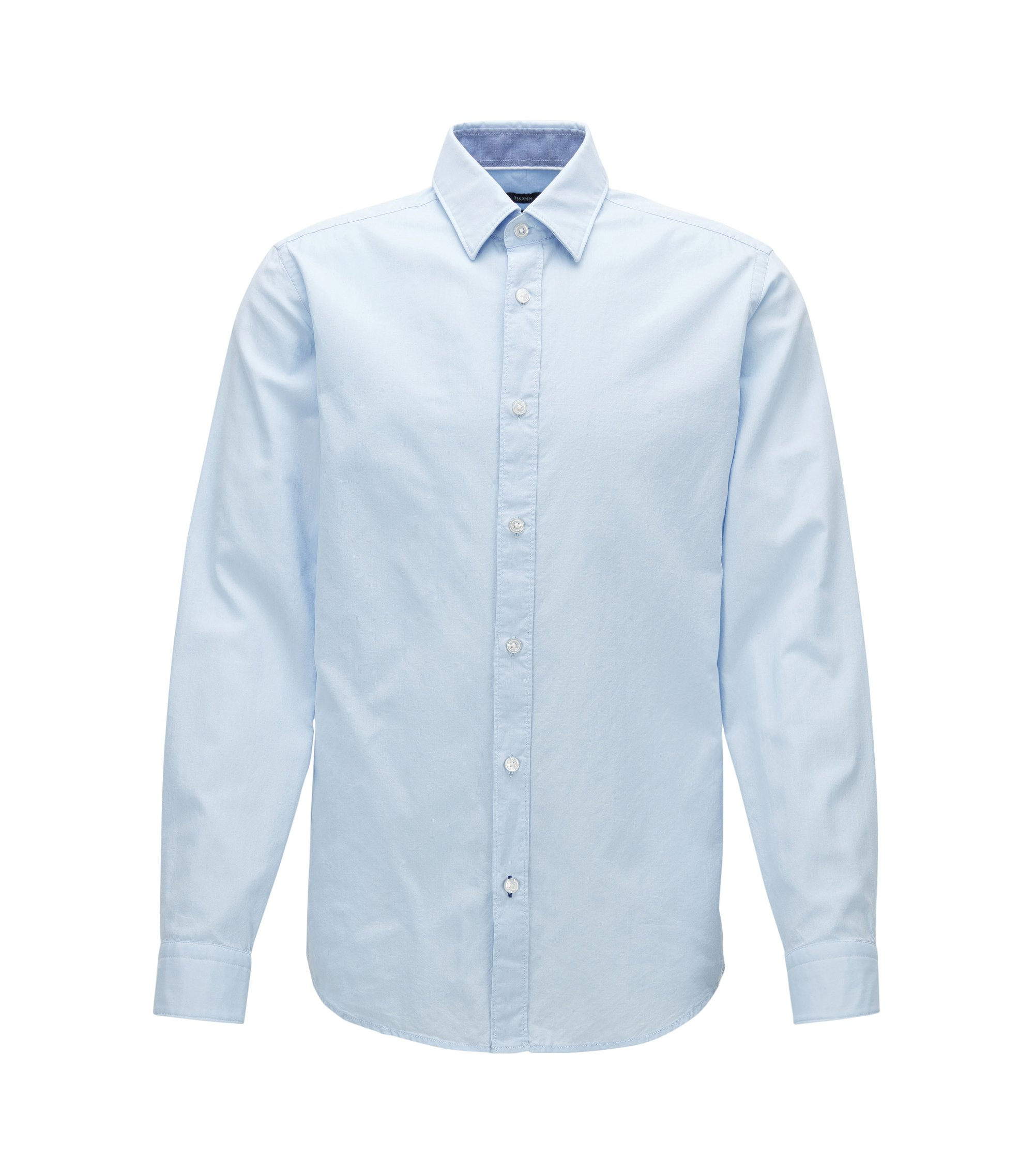 Regular-fit washed cotton Oxford shirt, Light Blue