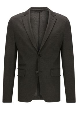 Extra-slim-fit jacket in technical jersey, Anthracite