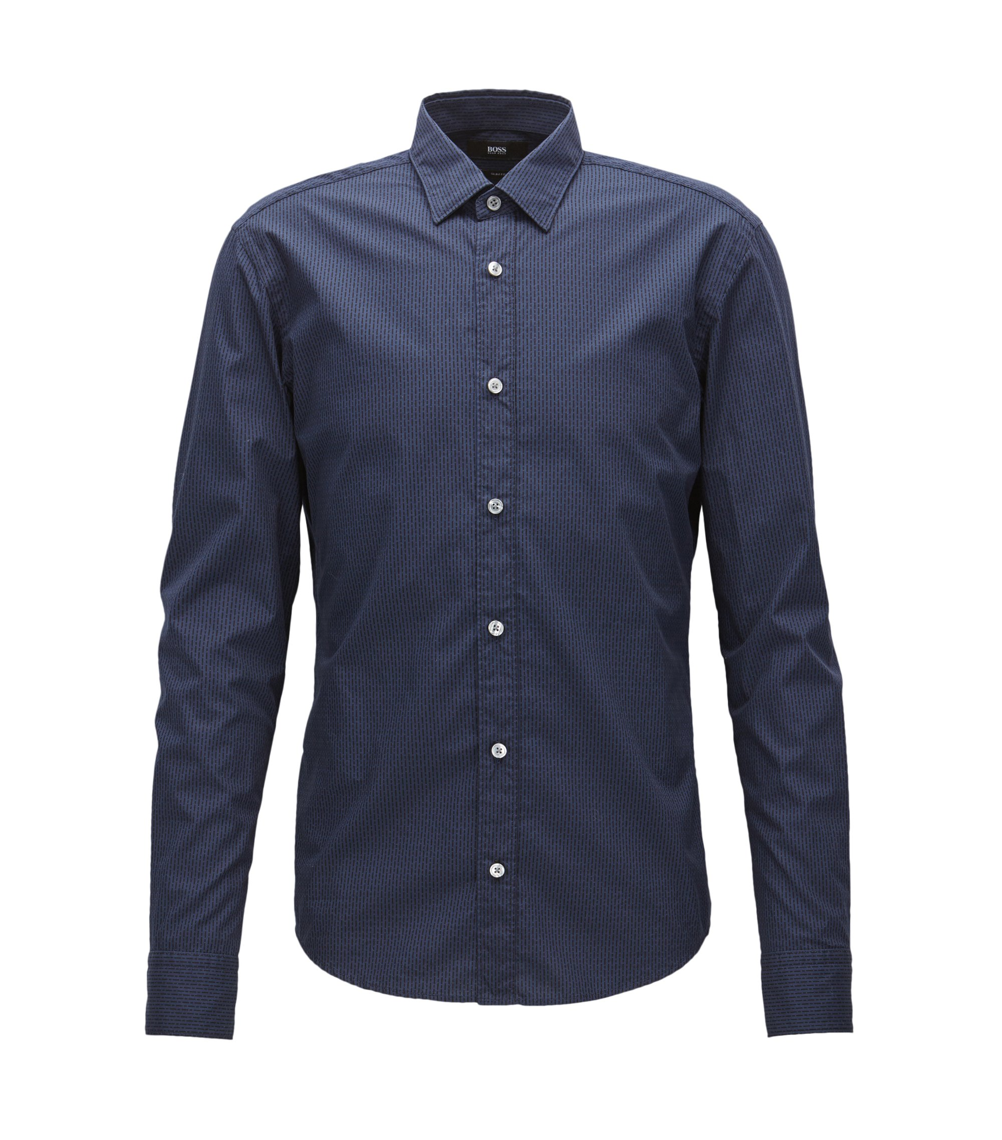 Patterned slim-fit cotton shirt for Mercedes-Benz Collection, Dark Blue