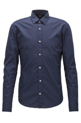 Chemise de la collection Mercedes-Benz, en coton Slim Fit à motif, Bleu foncé
