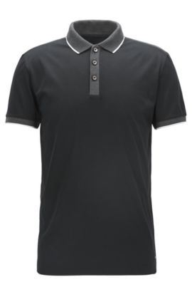Shoulder-tipped slim-fit polo shirt in double mercerised cotton, Black