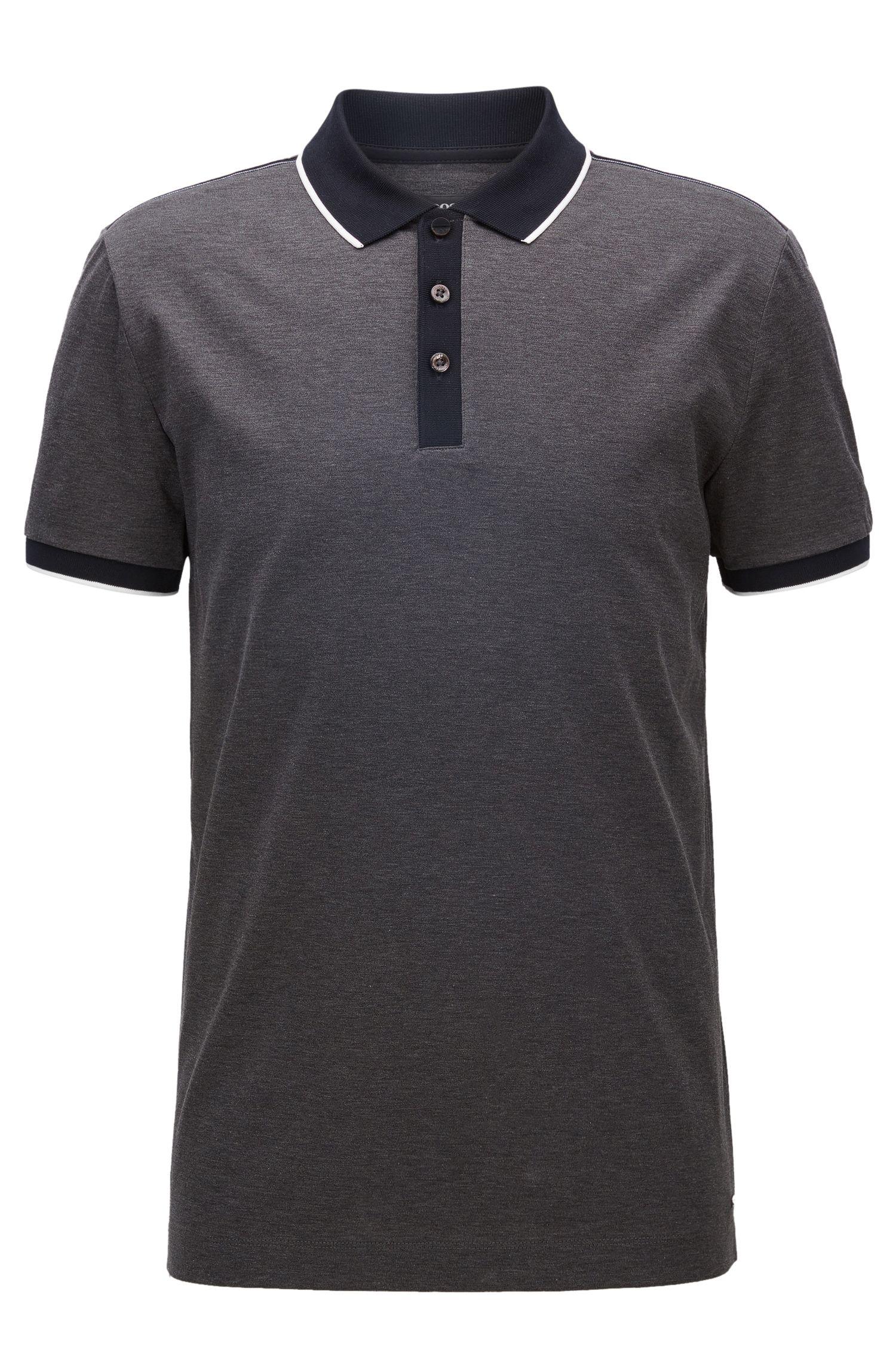 Polo Slim Fit en double coton mercerisé à bordures contrastantes sur les épaules