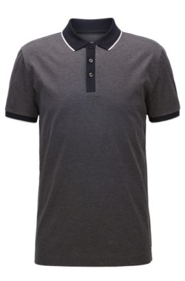 Shoulder-tipped slim-fit polo shirt in double mercerised cotton, Anthracite