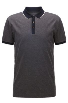Polo Slim Fit en double coton mercerisé à bordures contrastantes sur les épaules, Anthracite