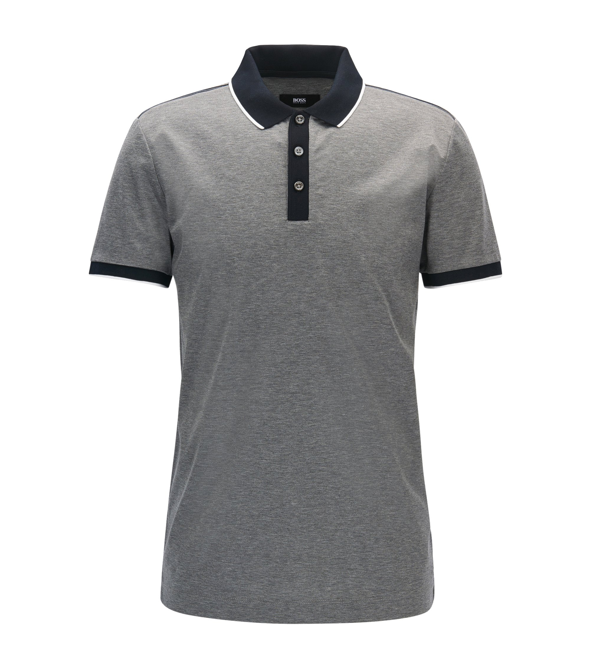 Slim-Fit Poloshirt aus doppelt merzerisierter Baumwolle, Grau