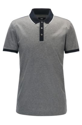 Shoulder-tipped slim-fit polo shirt in double mercerised cotton, Grey