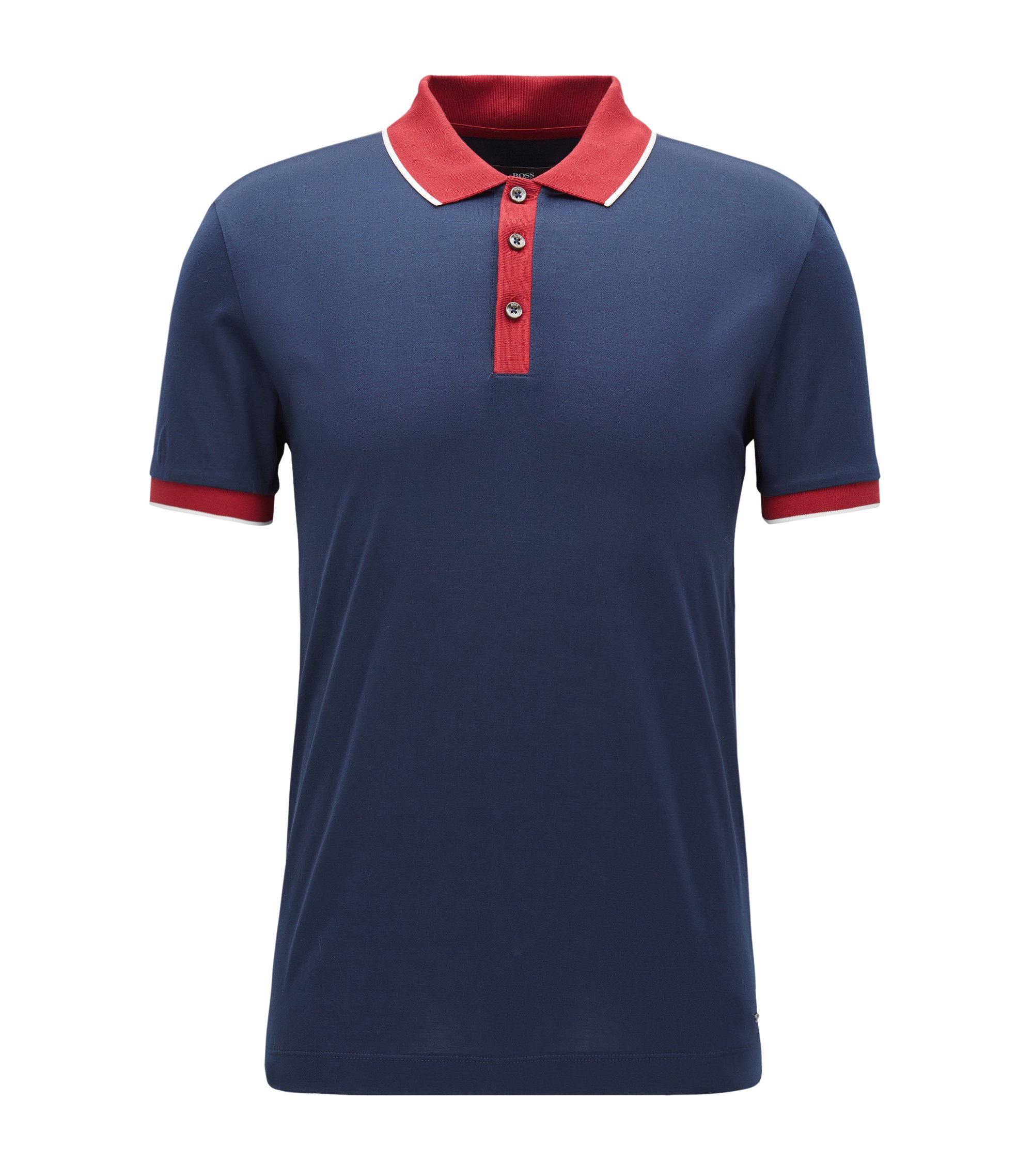 Shoulder-tipped slim-fit polo shirt in double mercerised cotton, Dark Blue