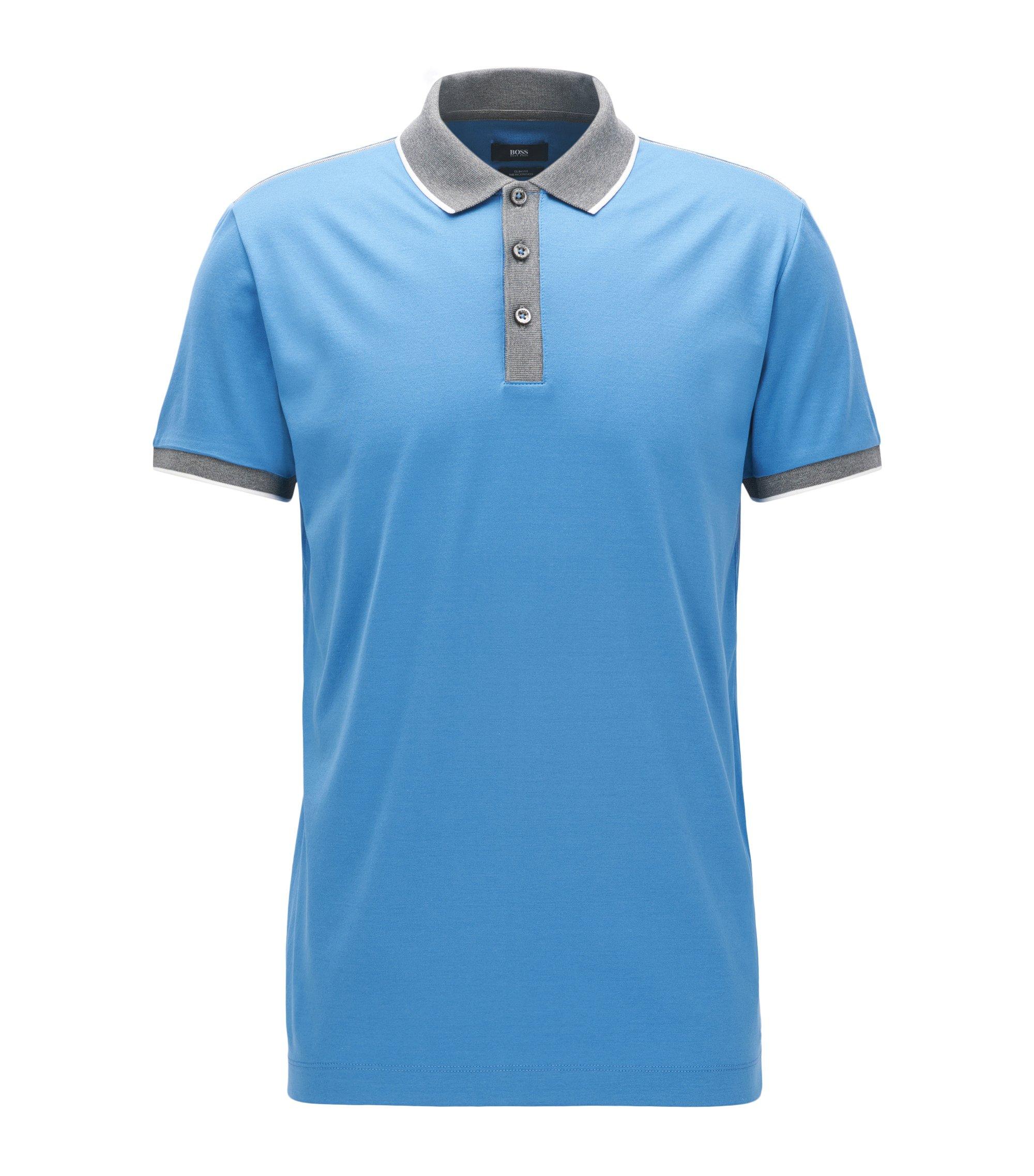 Slim-Fit Poloshirt aus doppelt merzerisierter Baumwolle, Hellblau