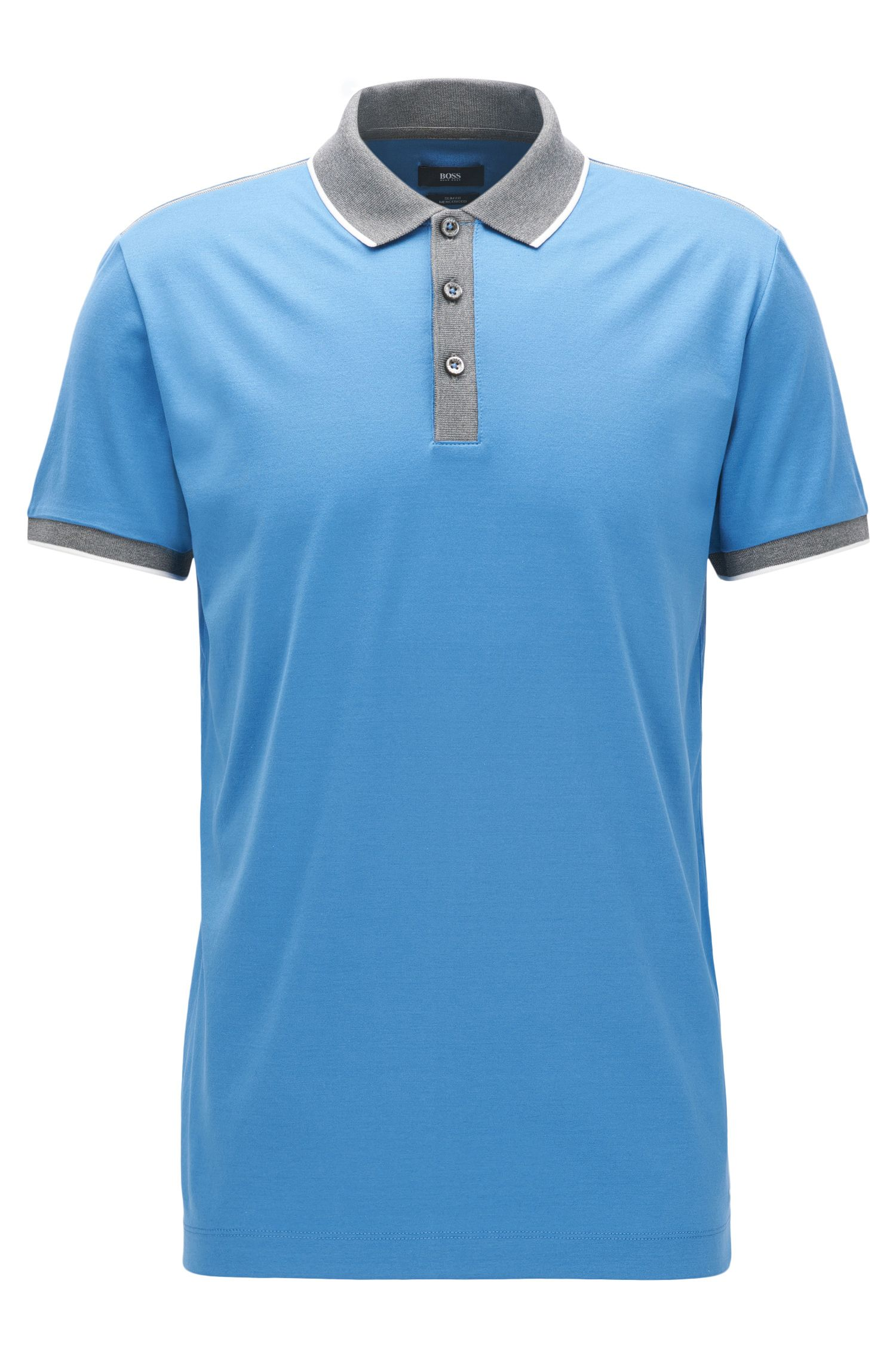 Shoulder-tipped slim-fit polo shirt in double mercerised cotton