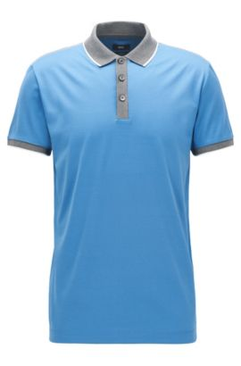 Shoulder-tipped slim-fit polo shirt in double mercerised cotton, Light Blue
