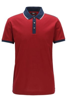 Shoulder-tipped slim-fit polo shirt in double mercerised cotton, Red