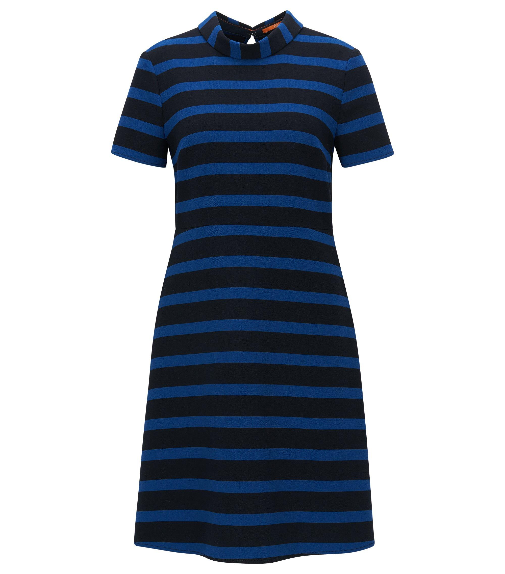 Regular-Fit A-Linien-Kleid aus elastischem Material-Mix, Gemustert