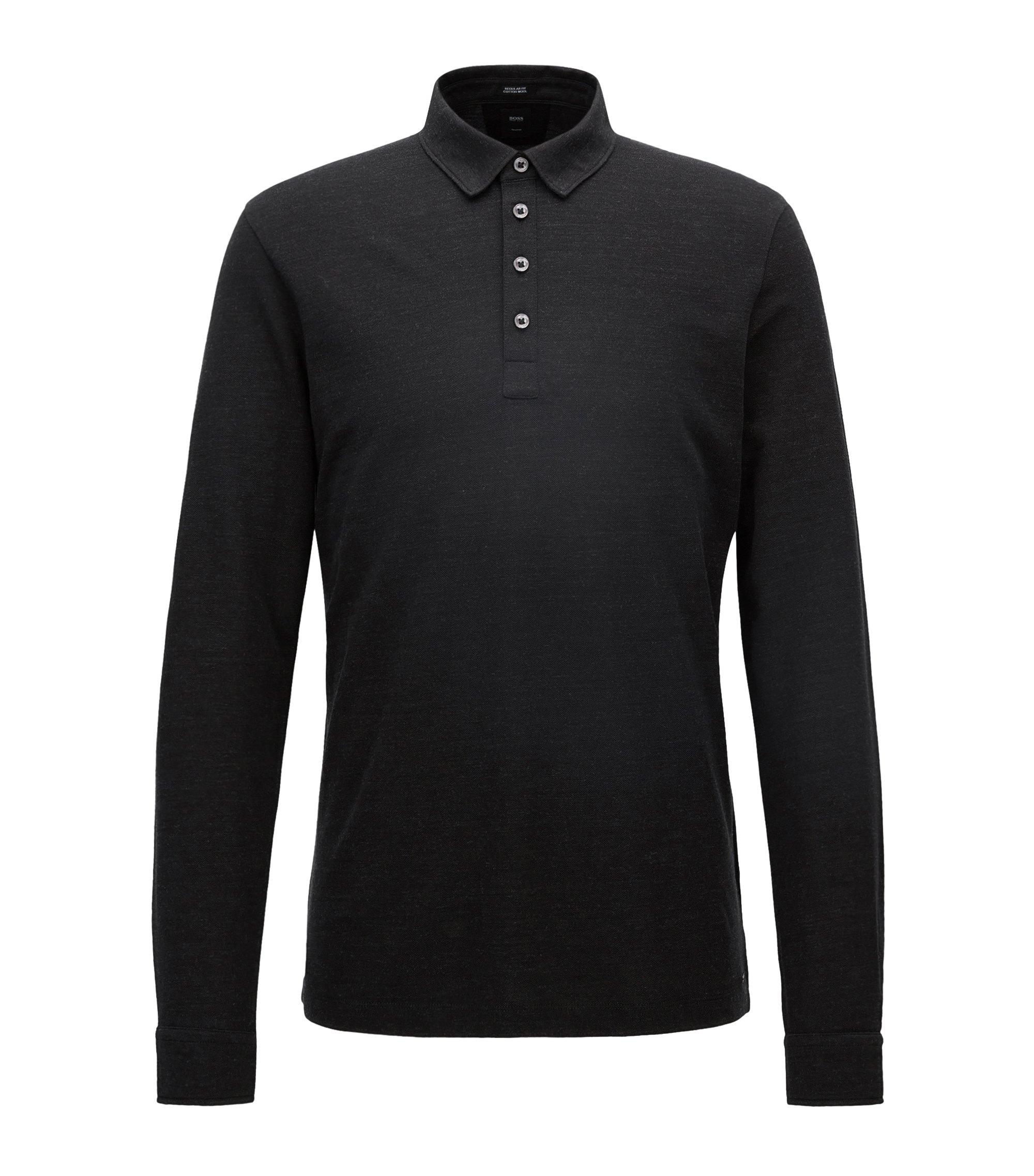 Regular-Fit Longsleeve Poloshirt aus Baumwoll-Mix mit Schurwolle, Schwarz
