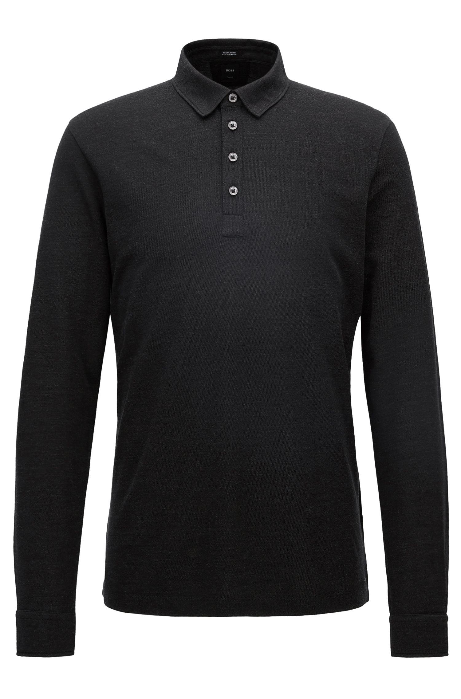 Regular-Fit Longsleeve Poloshirt aus Baumwoll-Mix mit Schurwolle