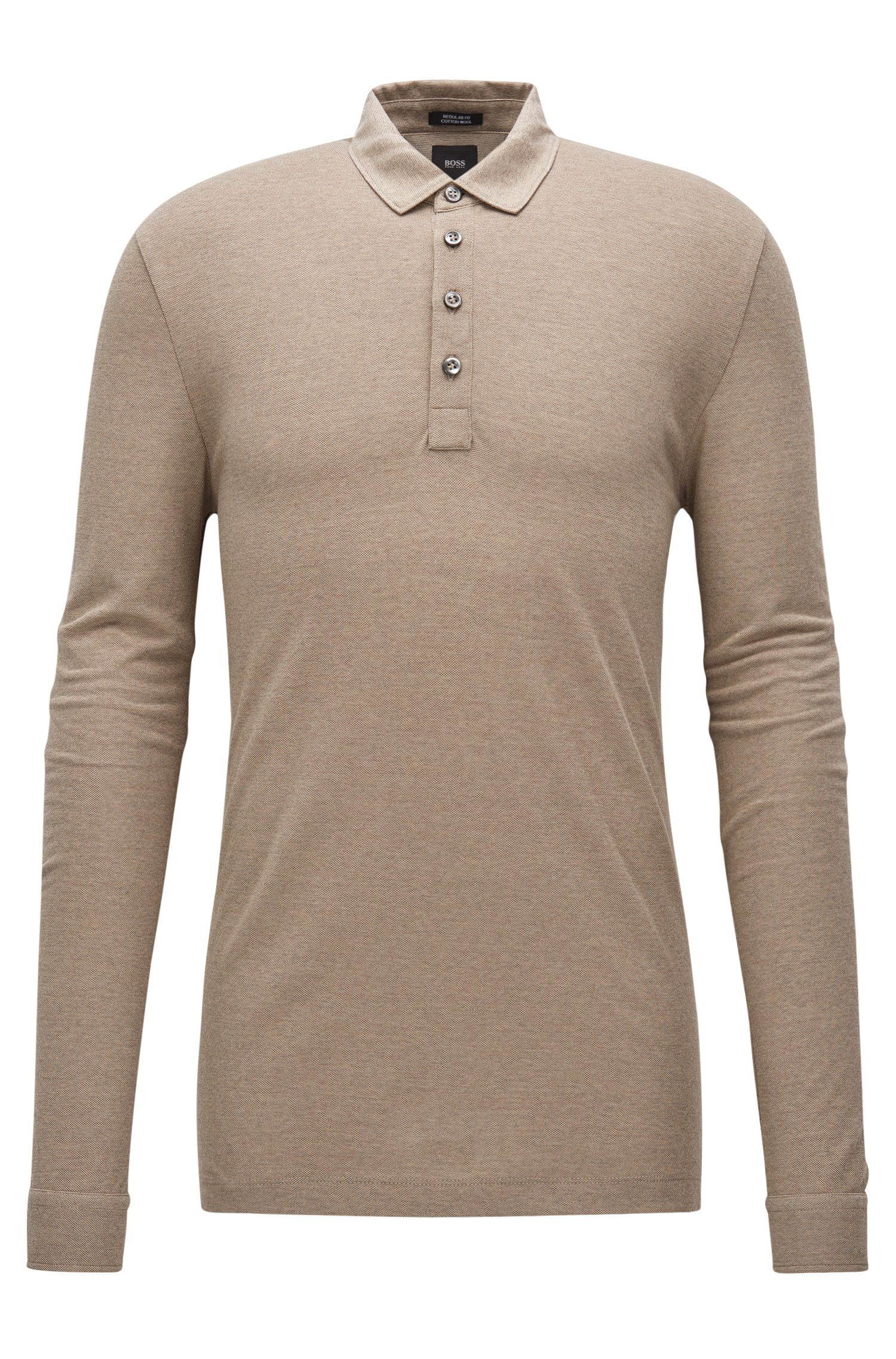Regular-fit long-sleeved cotton-blend piqué polo