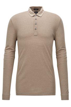 Regular-Fit Longsleeve Poloshirt aus Baumwoll-Mix mit Schurwolle, Khaki