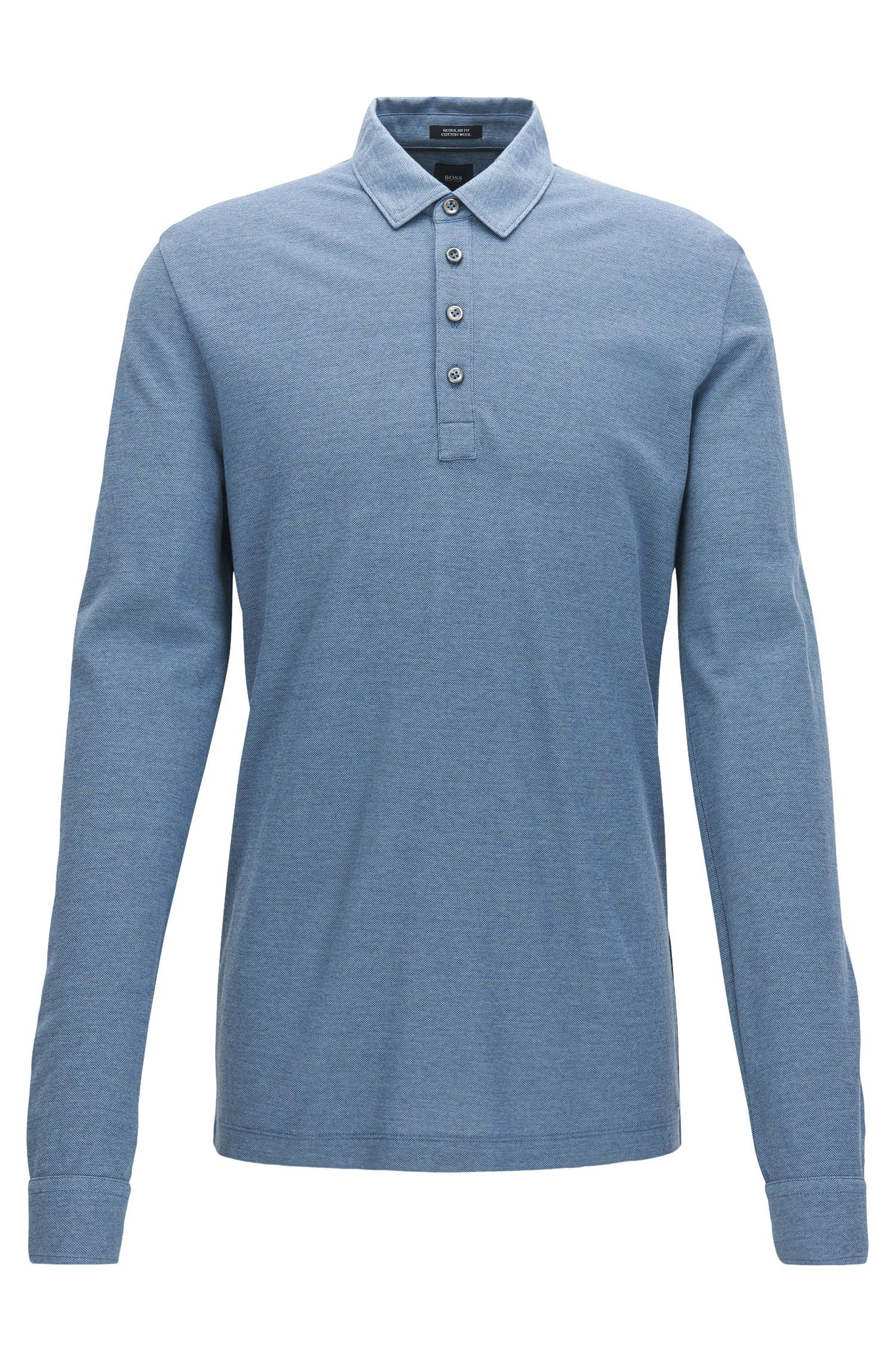 Regular-fit long-sleeved cotton-blend piqué polo