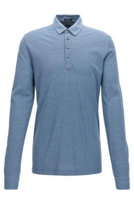 Polo Regular Fit à manches longues en piqué de coton mélangé, Bleu