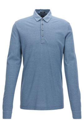 Regular-fit long-sleeved cotton-blend piqué polo, Blue