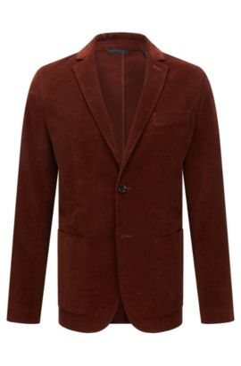 Slim-fit fine-ribbed corduroy jacket, Marron