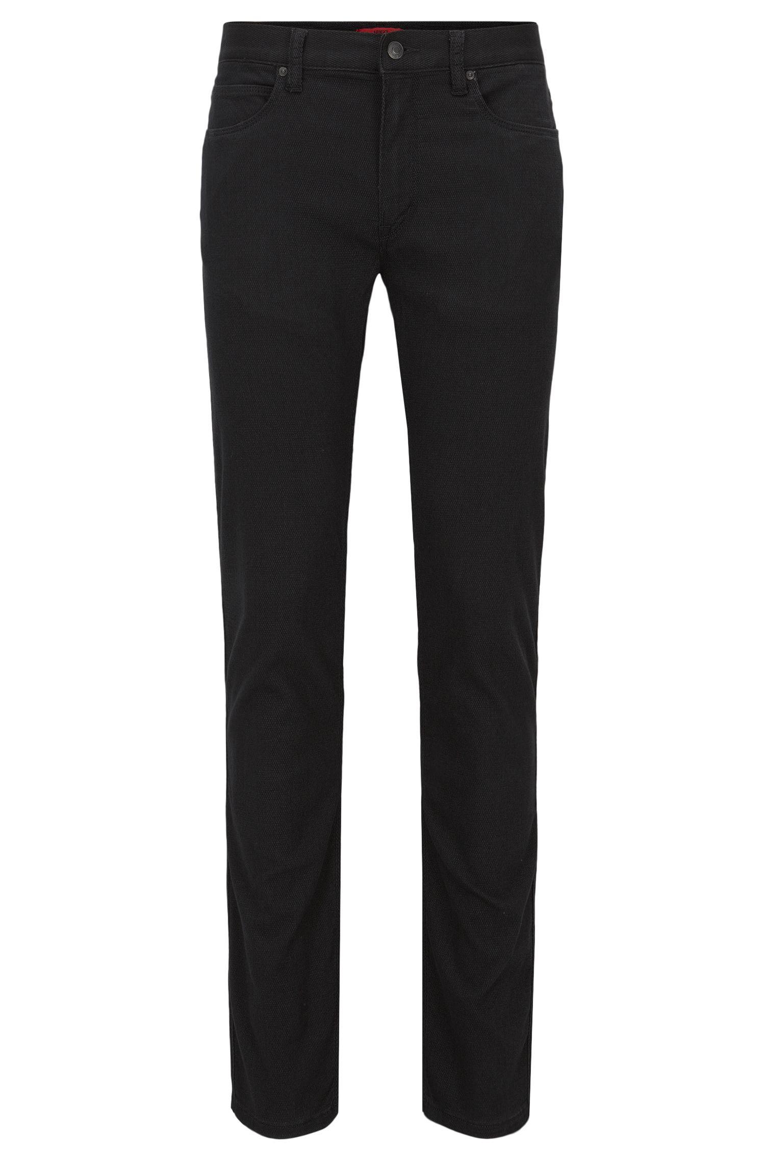 Jeans Slim Fit en denim noir effet maille