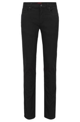 Zwarte slim-fit jeans van denim in meshlook, Zwart