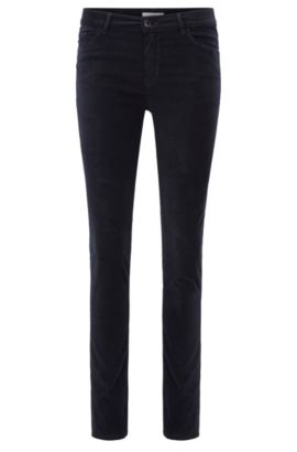 Jeans Slim Fit en velours italien stretch, Bleu foncé