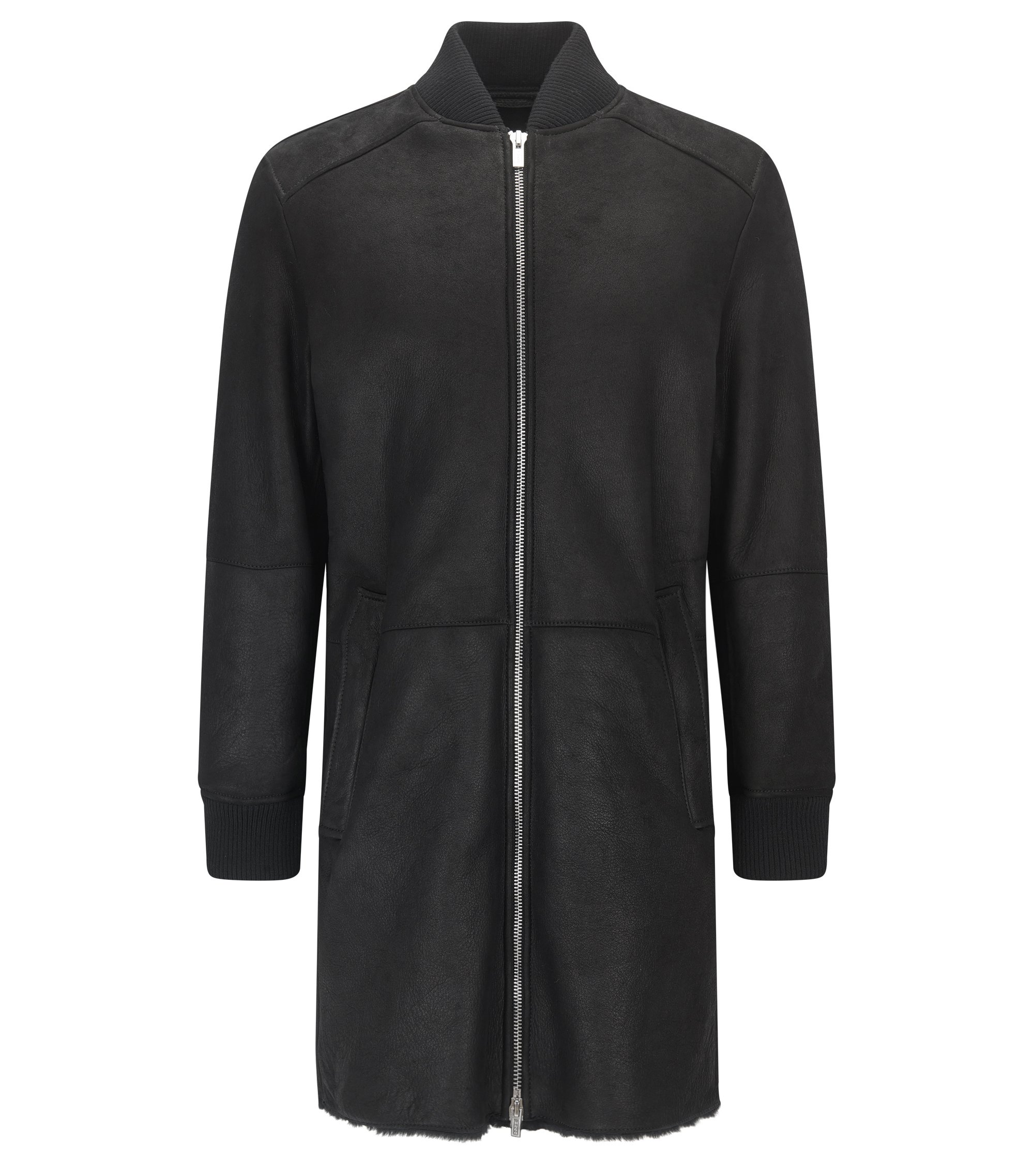 Bomber slim fit lungo in shearling, Nero