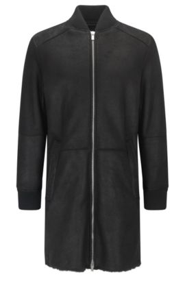 Long-length slim-fit bomber jacket in shearling, Black