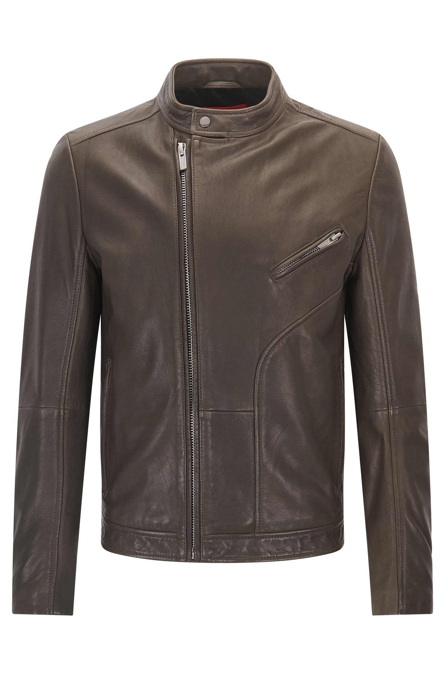 Slim-fit biker jacket in oiled nappa leather