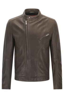 Slim-fit biker jacket in oiled nappa leather, Dark Green
