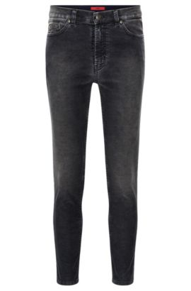 Tapered-fit jeans van stretchcorduroy, Antraciet