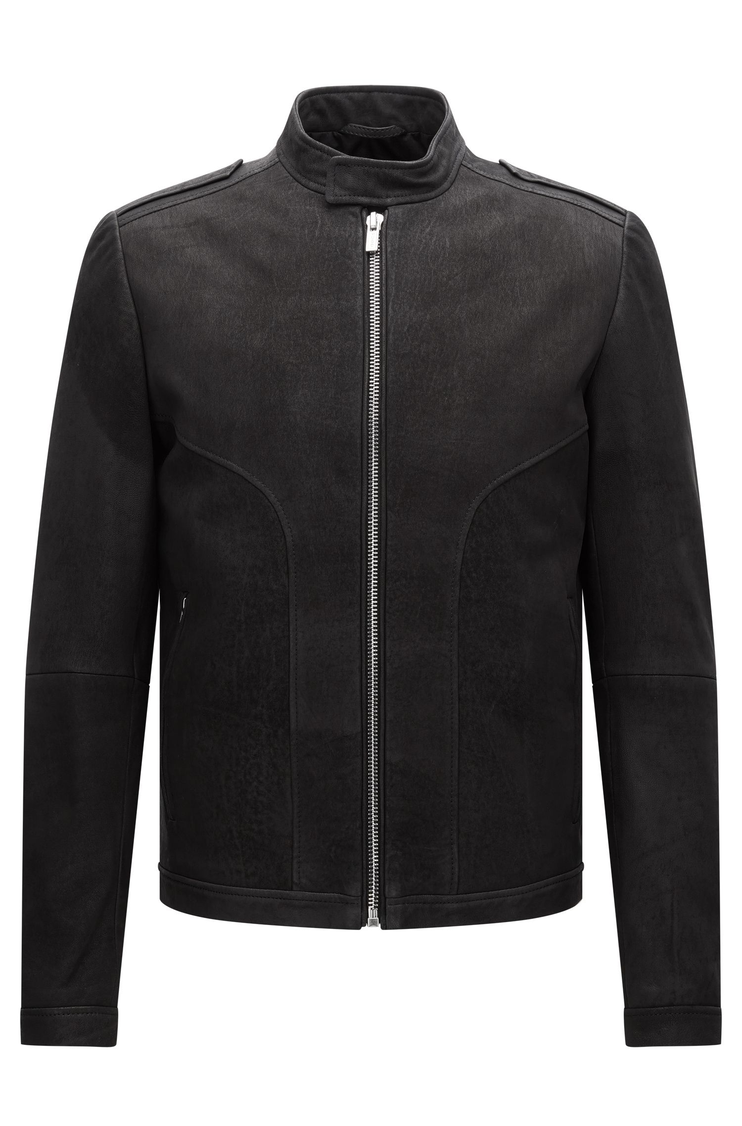 Slim-fit biker jacket in brushed nappa leather