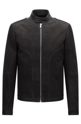 Slim-fit biker jacket in brushed nappa leather, Black