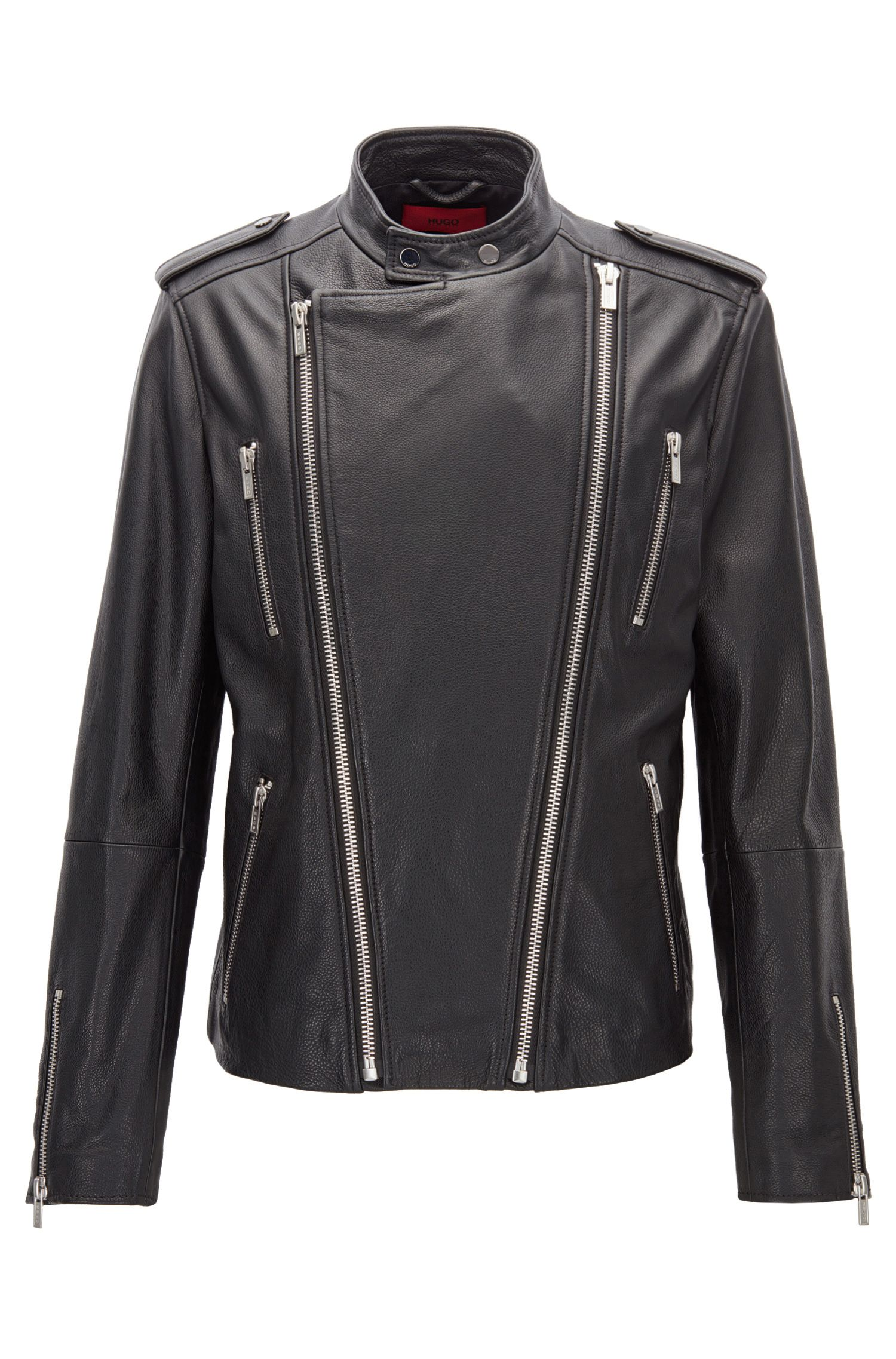 Blouson de motard Slim Fit en cuir à la finition grainée, à double zip