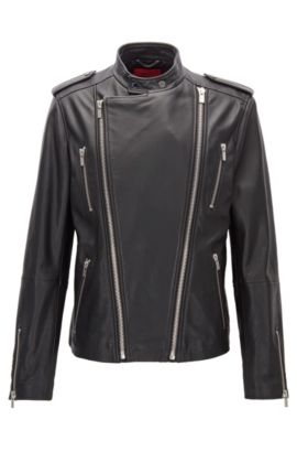 Blouson de motard Slim Fit en cuir à la finition grainée, à double zip, Noir